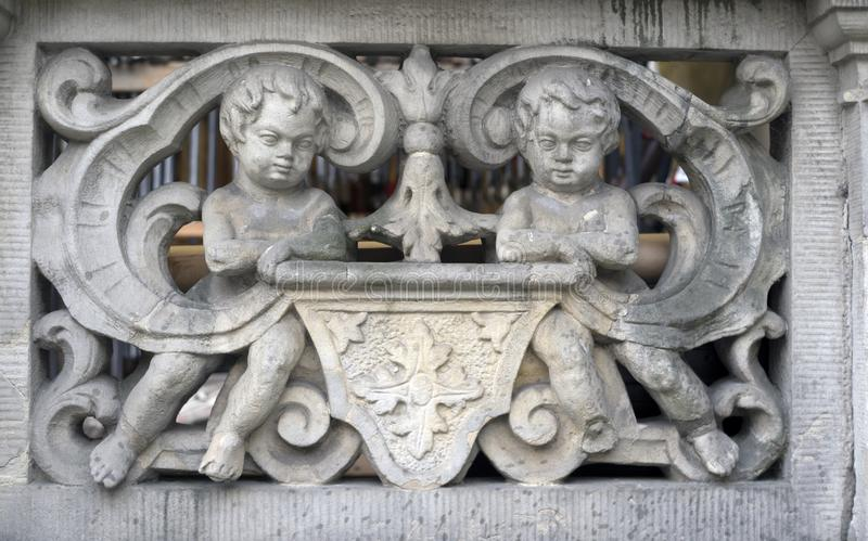 Stone bas-reliefs of Gdansk. Gdansk is an old Polish and German cultural center with incredibly beautiful architecture. Ancient stone carvings of bas-relief on stock images