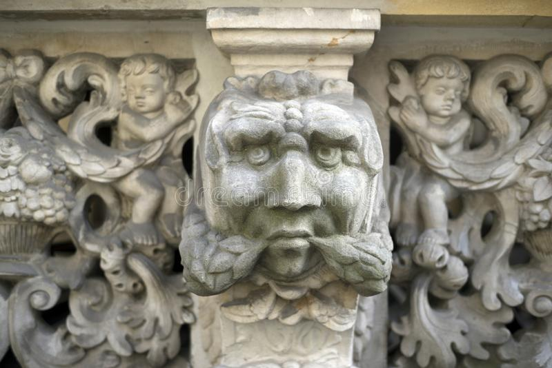 Stone bas-reliefs of Gdansk. Gdansk is an old Polish and German cultural center with incredibly beautiful architecture. Ancient stone carvings of bas-relief on stock photo