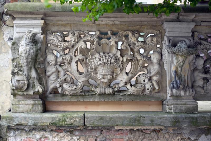 Stone bas-reliefs of Gdansk. Gdansk is an old Polish and German cultural center with incredibly beautiful architecture. Ancient stone carvings of bas-relief on royalty free stock photography