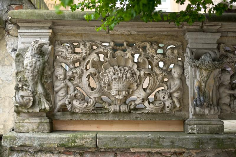 Stone bas-reliefs of Gdansk stock images