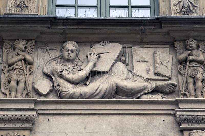 Stone bas-reliefs of Gdansk stock image
