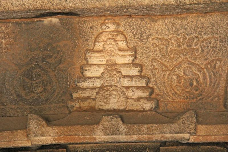 Stone bas-reliefs on the walls in Temples Hampi. Carving stone a stock photos