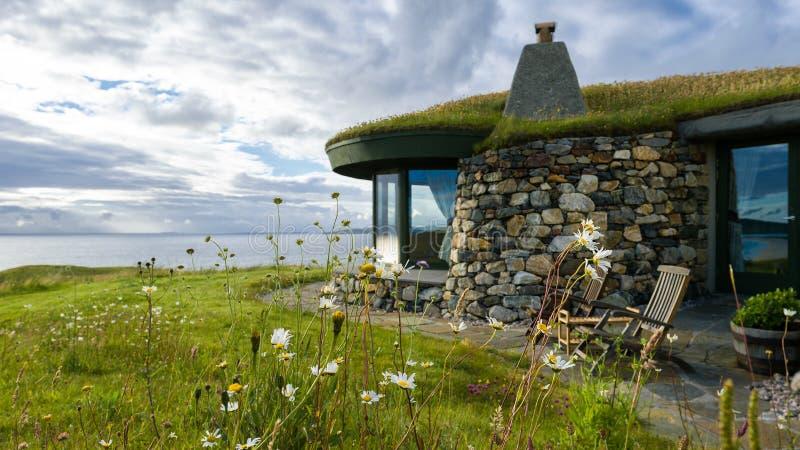 Stone Beach house. On the coast of Isle of Harris stock images