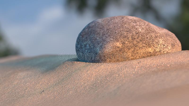 Stone on beach sand at sunset with sky and trees in background 3d illustration. Stone on beach sand at sunset with sky and trees in background 3d render royalty free stock image