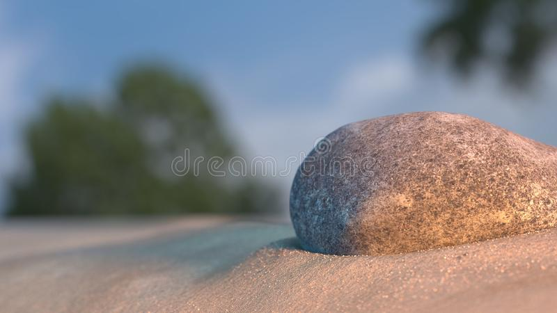 Stone on beach sand at sunset with sky and trees in background 3d illustration. Stone on beach sand at sunset with sky and trees in background 3d render stock photos