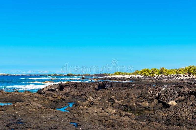 Stone beach view, Hawaii, USA. Copy space for text.  stock images
