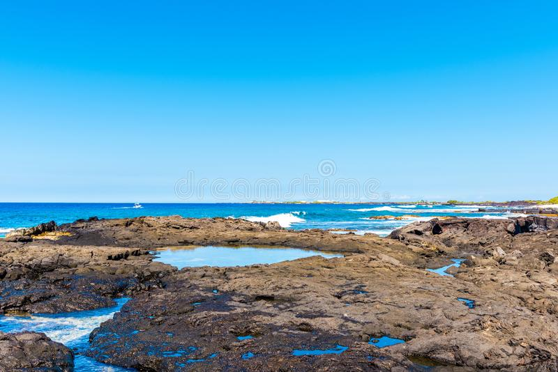 Stone beach view, Hawaii, USA. Copy space for text.  royalty free stock photography