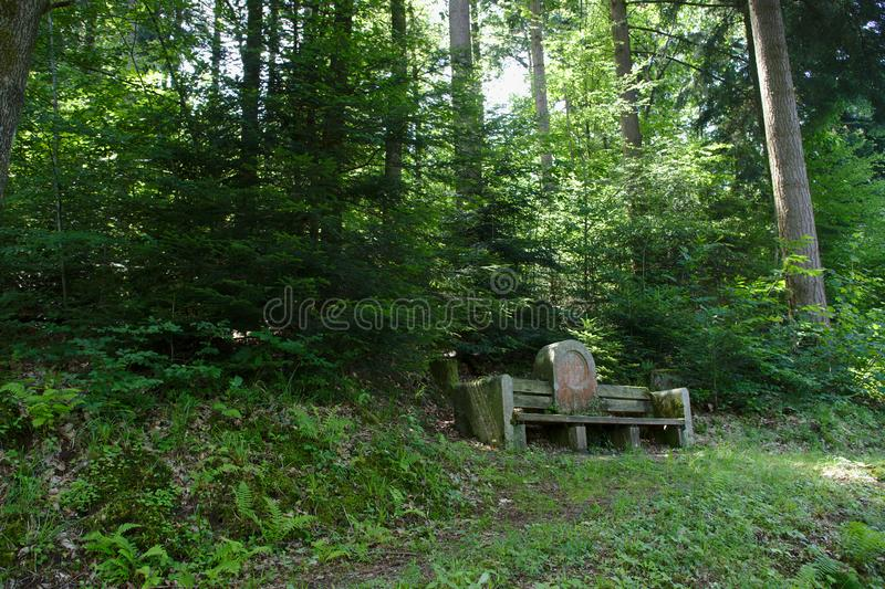 Stone bench in the black forest, germany royalty free stock photography
