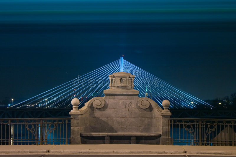 Download Stone Bench On  Illuminated Bridge By Night Stock Photo - Image: 8467028