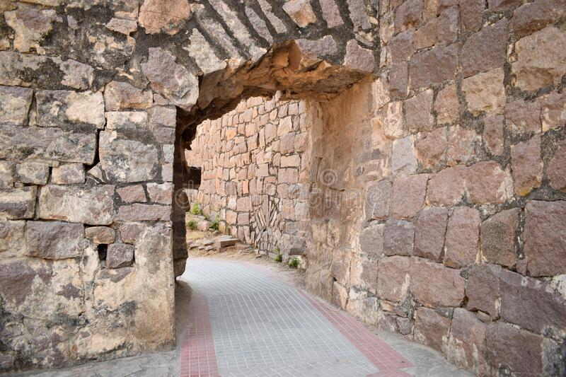 The Stone block Steps walk path in the Fort stock photograph image.  royalty free stock photography