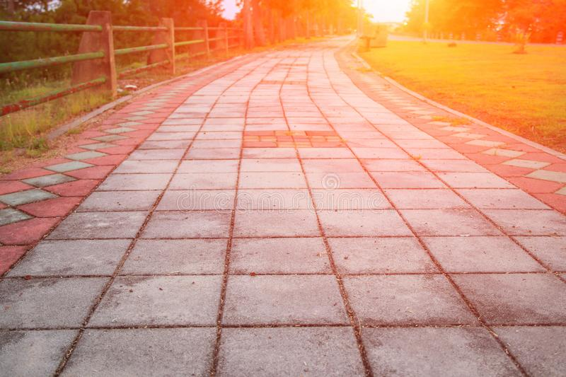 Stone block walk path in public park with sunset light tone: Select focus with shallow depth of field royalty free stock photos