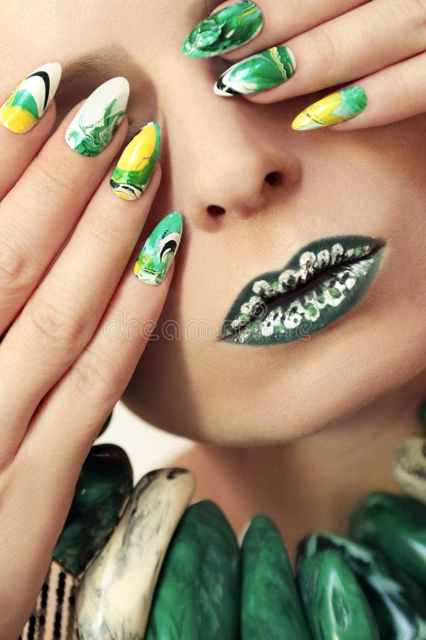 Stone Blurred Water Manicure. Stock Photo - Image of female ...