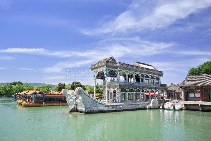 Stone boat at Kunming Lake, Summer Palace, Beijing, China. Iconic Stone boat at Kunming Lake, Summer Palace, Beijing, China stock image