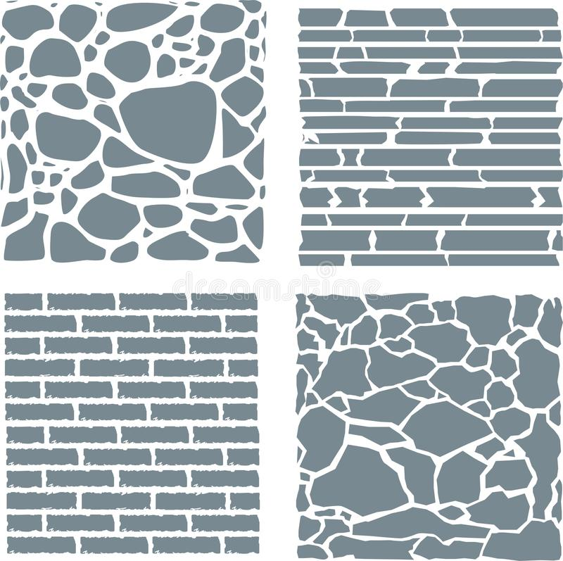 Stone and brick cladding. Vector texture set. Stone and brick cladding. Vector illustration for stock stock illustration