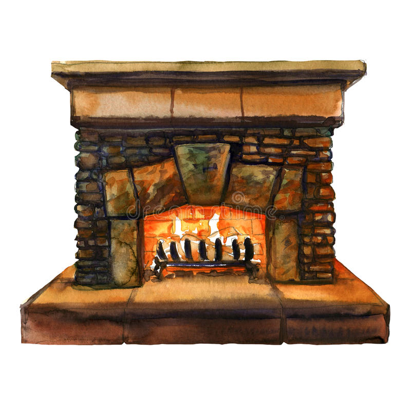 Stone bricks home family fireplace with flame, hearth with burning fire, watercolor illustration vector illustration