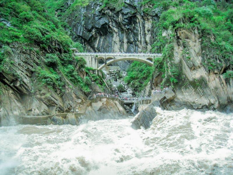 Stone bridge across the canyon stock image