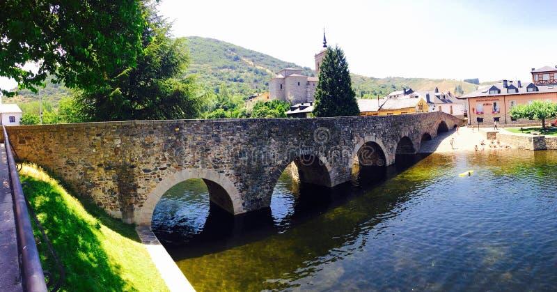 Stone Bridge in the ancient Town of Ponferrada. stock photography