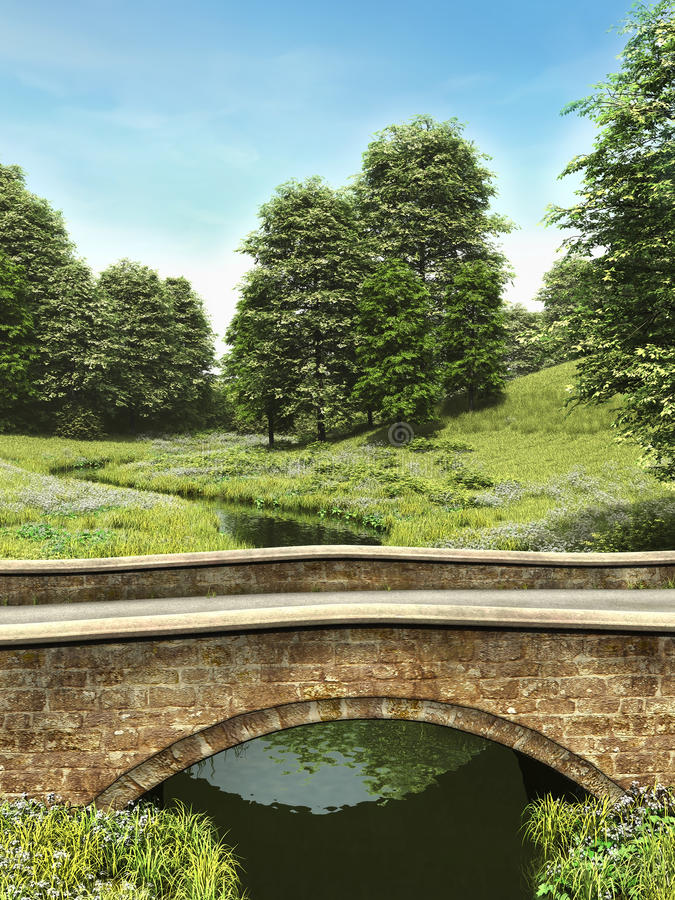 Stone bridge in the countryside royalty free illustration