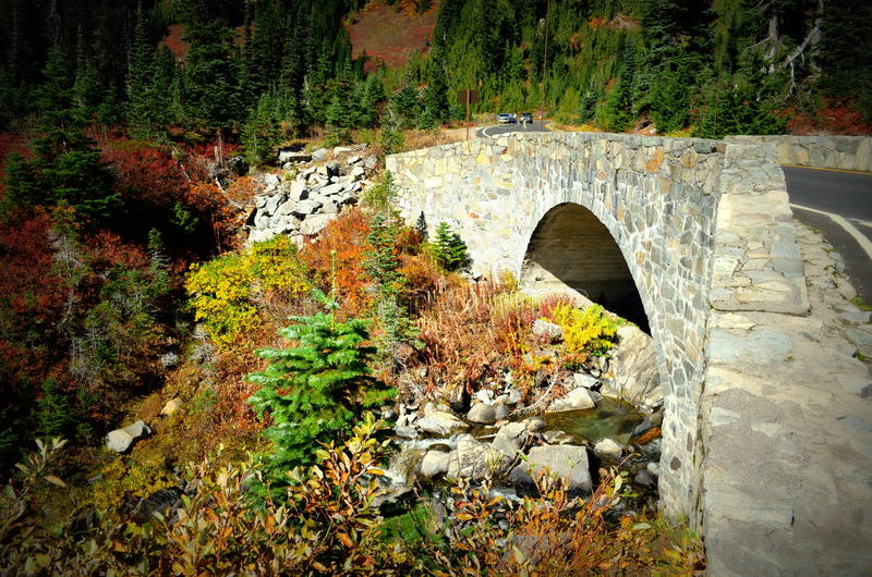 Stone bridge in fall colors, Mt. Rainier National Park royalty free stock photos