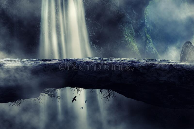 Stone bridge fantasy with foggy waterfall in a background stock images