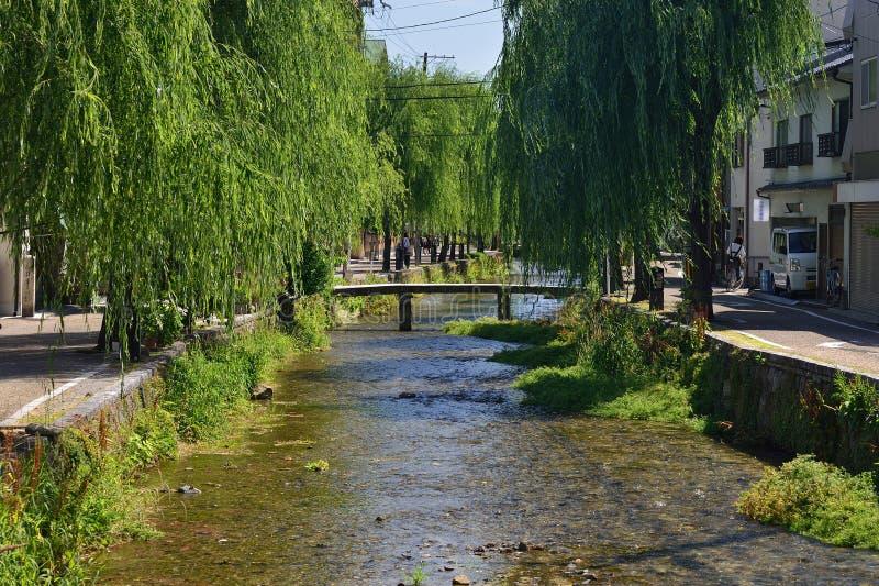 Stone bridge at Gion district, Kyoto Japan. Natural scene of IpponBashi stone bridge and weeping willow trees of sidewalk at Shirakawa Gion district in Kyoto stock photo