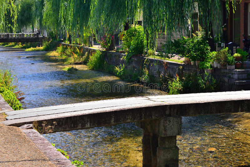 Stone bridge at Gion district, Kyoto Japan. Natural scene of IpponBashi stone bridge and weeping willow trees of sidewalk at Shirakawa Gion district in Kyoto stock images