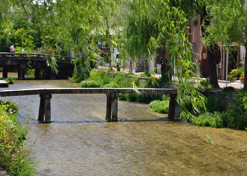 Stone bridge of Gion district, Kyoto Japan. Natural scene of narrow stone bridge (aka, Ipponbashi) and willow trees of Gion Shirakawa district of Kyoto Japan in stock image