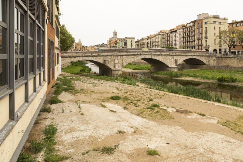 Stone bridge of Girona, Catalonia, Spain royalty free stock image