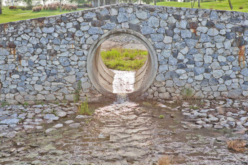 Stone Bridge in Golf Course with Sewer stock photography