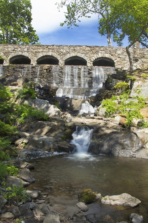 Stone bridge at Highland Park Falls in Manchester, Connecticut. Stone bridge at Highland Park Falls of the Birch Mountain Brook on Spring St. in Manchester royalty free stock image