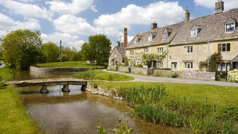 Stone bridge in Lower Slaughter in the Cotswolds. A stone Bridge and cottages in Lower Slaughter, UK stock photography
