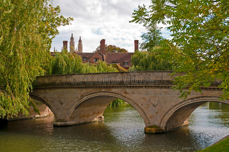 Stone bridge over Cam river stock photos