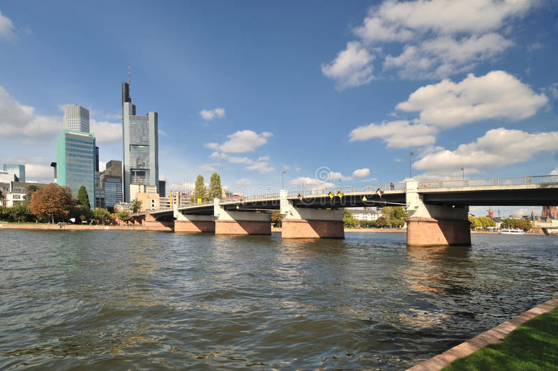 Frankfurt panorama from Main river stock photography