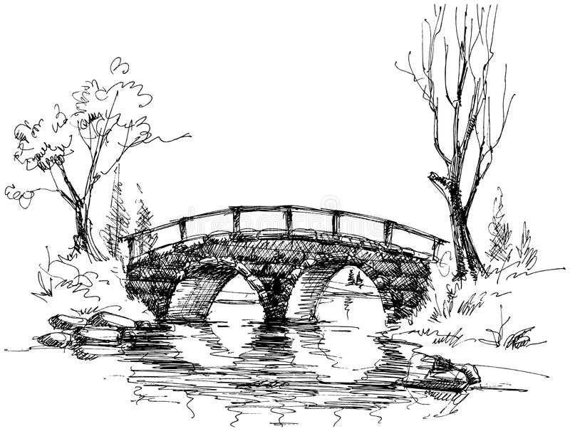 Stone bridge over river vector illustration