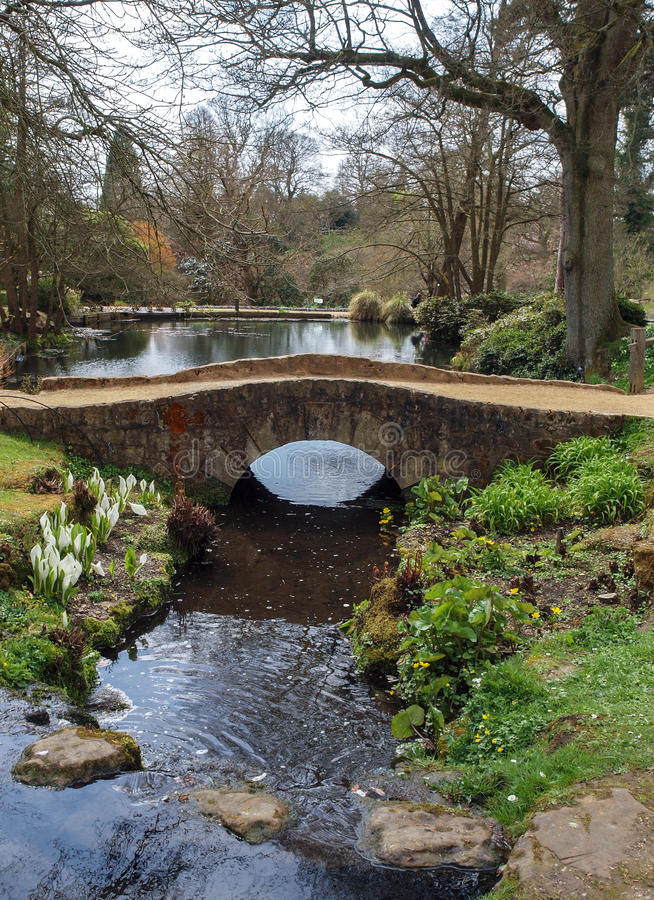 Stone Bridge over Stream Landscape. Beautiful countryside scene of an old stone bridge over a flowing stream with cala lilies and water plants growing on the royalty free stock photography
