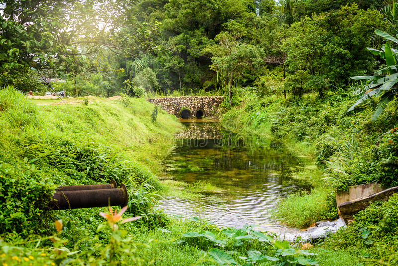 Stone bridge and waterway. In old mines at ' pilok mines ', Thongphaphum, Kanchanaburi, Thailand stock image