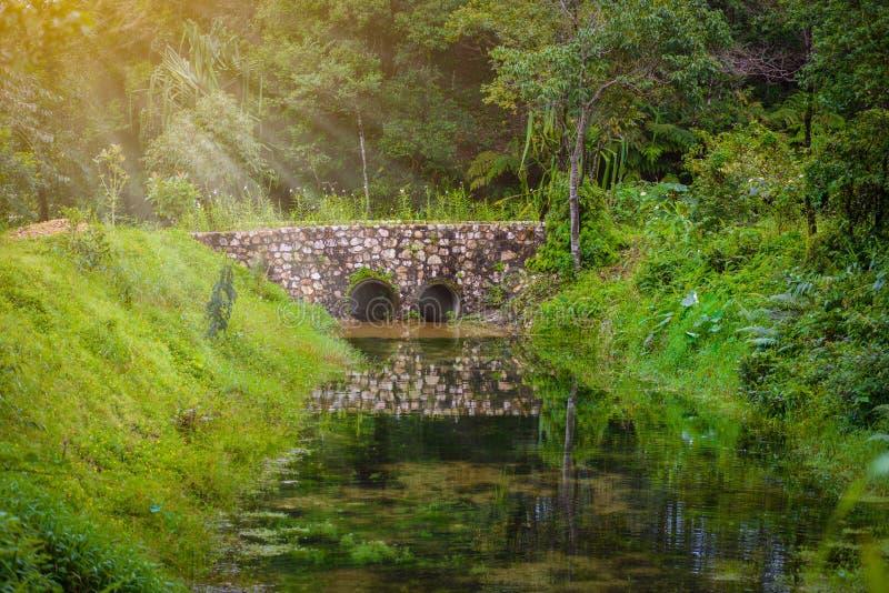 Stone bridge and waterway. In old mines at ` pilok mines `, Thongphaphum, Kanchanaburi, Thailand royalty free stock photo