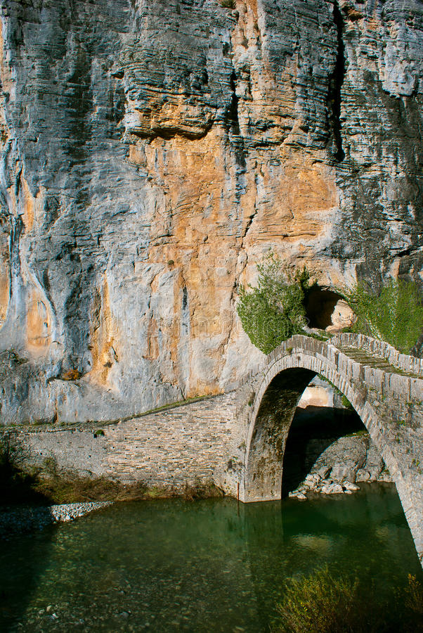 Stone bridge in Zagori stock photos