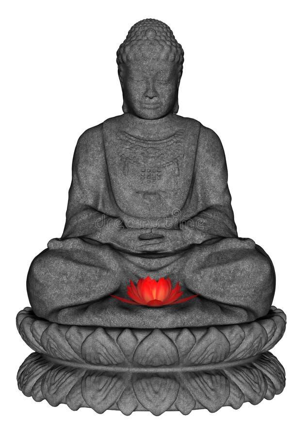 Stone Buddha - 3D render royalty free illustration