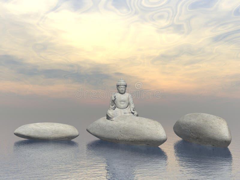 Stone buddha - 3D render stock illustration