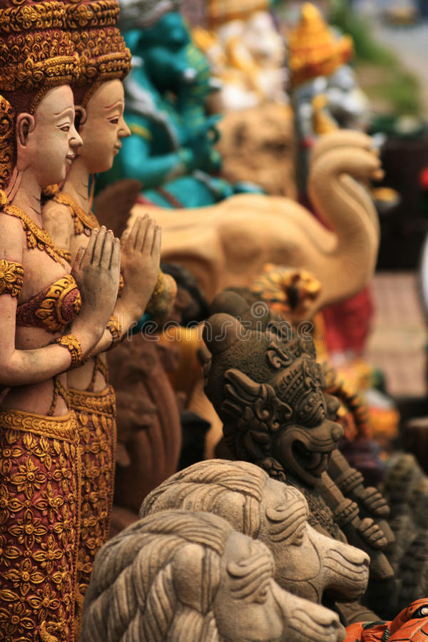 Free Stone Buddhist Garden Statues, Thailand. Royalty Free Stock Photo - 13438305