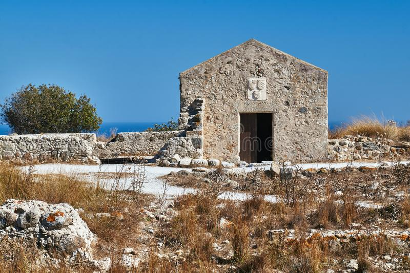 A stone building in the ruins of a Venetian medieval fortress royalty free stock photography