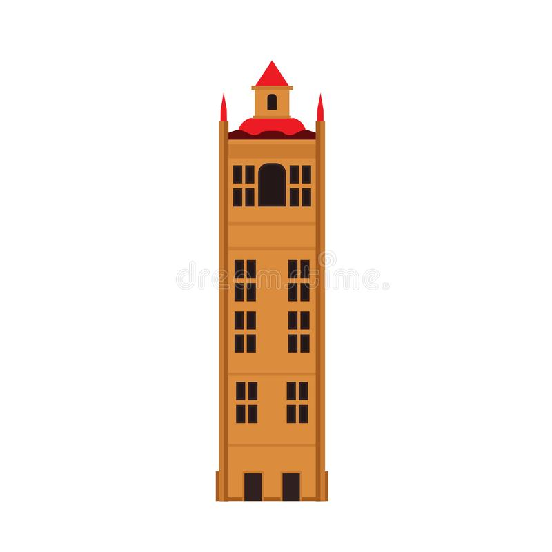 Stone building tower vector icon architecture city. Urban town cartoon cityscape flat exterior high castle fortress vector illustration