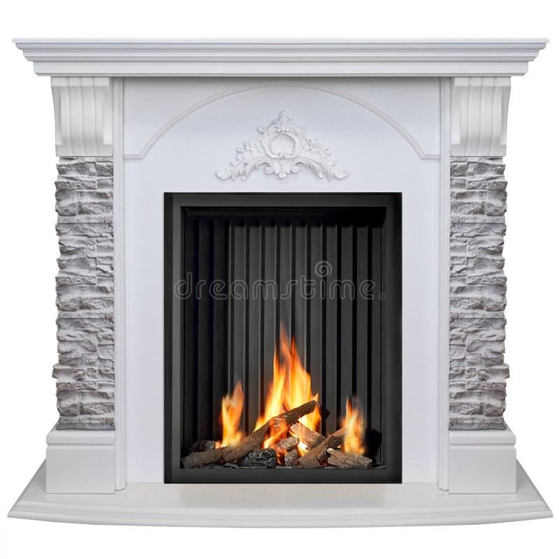Stone burning fireplace isolated on white background.  royalty free stock photo