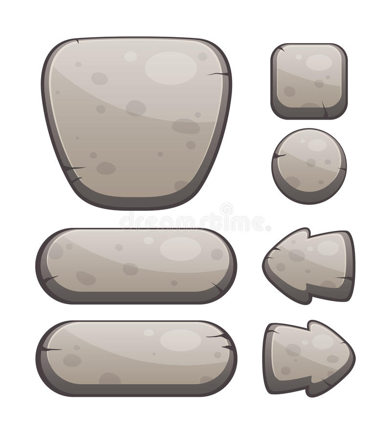 Stone Buttons for Web or Game Design vector illustration