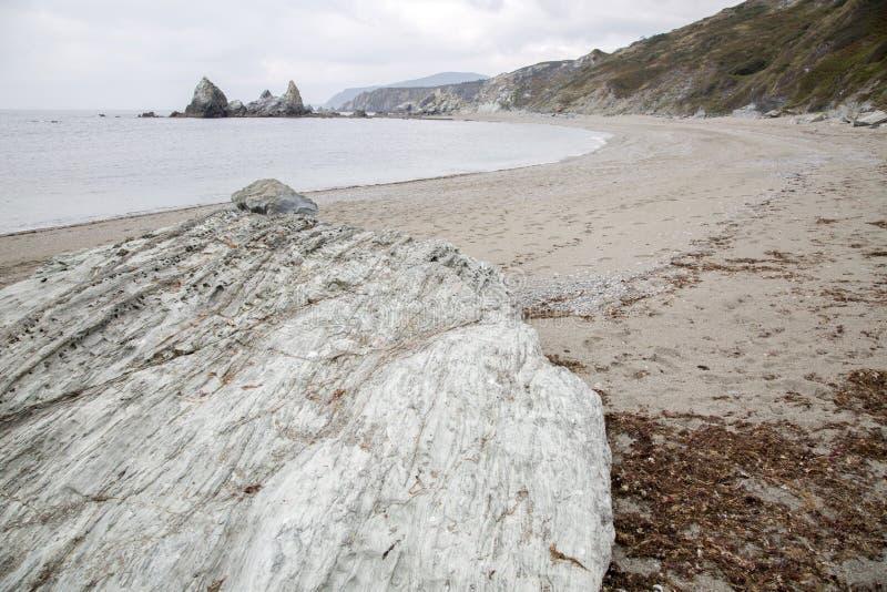 Stone on Carro Beach; Galicia. Spain stock photos