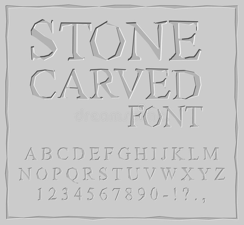 Stone Carved font. Alphabet on rock plate. Chips and scratches. Ancient ABC. Archaic letters royalty free illustration