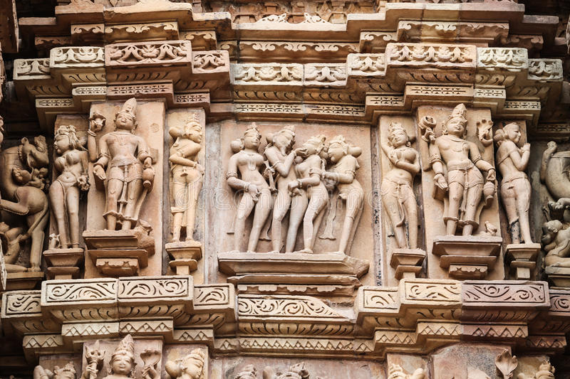 Stone carved, Khajuraho royalty free stock photography