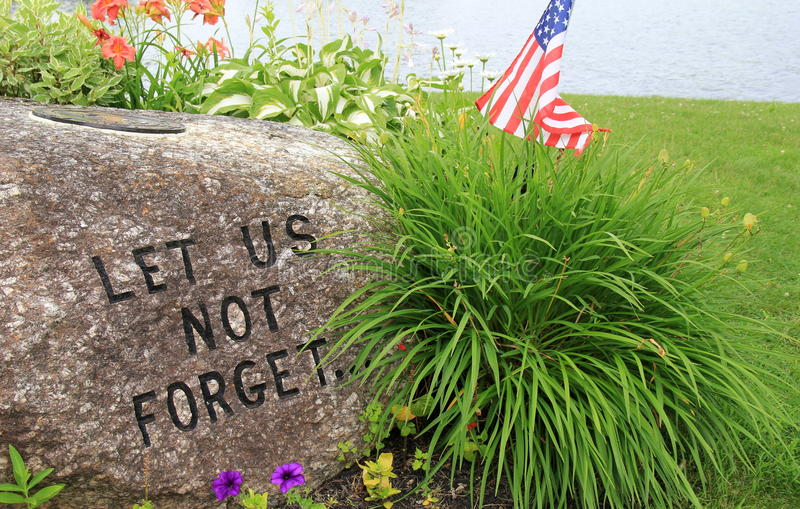 Stone carved with words of remembrance stock images