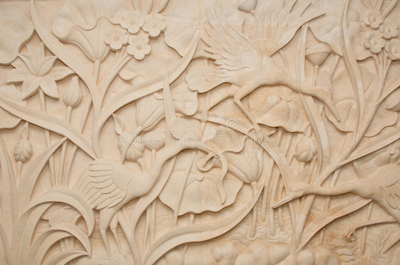Stone carving stock image of decorated floral